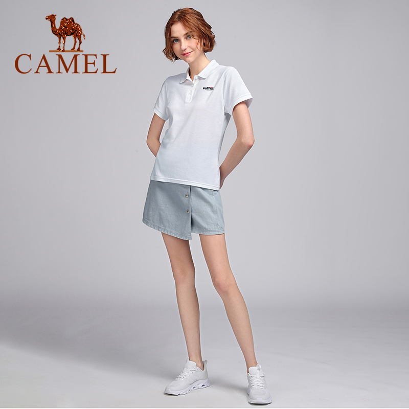 CAMEL Sports Outdoor Casual Hiking T-shirt Women's Tennis Shirt Women Polo Shirt Summer Fashion Solid Color Lapel Casual Shirts