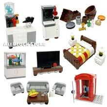 Diy Creator блоки детали прикроватная тумбочка стол телевизор шкаф кронштейн часы книжный шкаф диван набор MOC здание блоки кирпичи обучение игрушки подарки