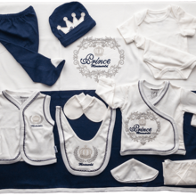 Newborn Essentials Prince Embroidery Layette Hospital Outfit Baby Boy Clothing Set Soft 100% Cotton Baby Gift Baby Set of 10 Pcs