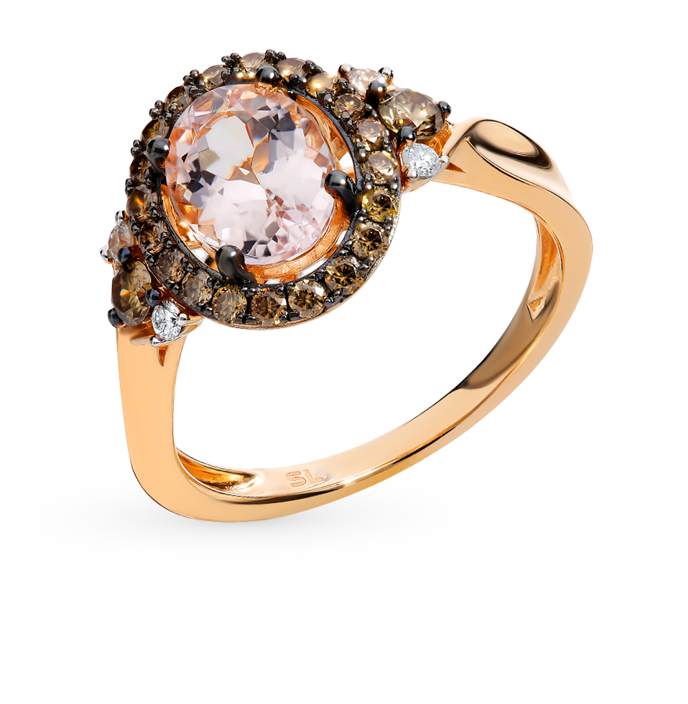 Gold Ring With Cognac Diamonds, Morganites Sunlight Sample 585