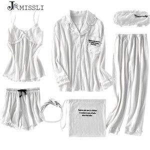 Image 1 - JRMISSLI New Robe Sexy V Neck Cotton Robes Sleepwear Spring Autumn Women Pyjama 7 Pieces Set Robe Set Underwear Lingerie Femme