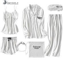 Jrmissli Nieuwe Robe Sexy V hals Katoen Gewaden Nachtkleding Lente Herfst Vrouwen Pyjama 7 Delige Set Gewaad Set Ondergoed Lingerie Femme