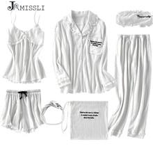 Jrmissli novo robe sexy com decote em v algodão roupões sleepwear primavera outono feminino pijama 7 peças conjunto de robe roupa interior lingerie femme