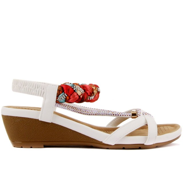 Guja-White Color Women's Elegant, Low Wedge Heal, Sandals