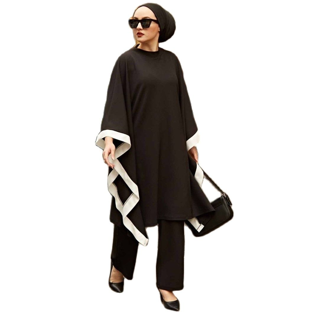 2 Pieces Baggy Women's Set, Maxi Tunic and Pant Double Suit For Winter Islamic Fashion Muslim Clothing Turkey Dubai 2021