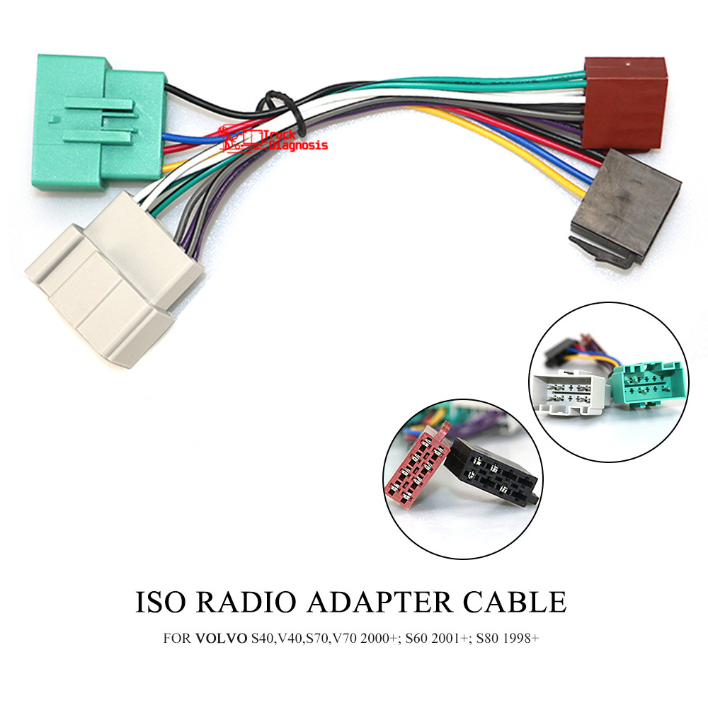 ISO RADIO ADAPTER CABLE FOR  VOLVO S40 V40 S70 V70 2000  S60 2001  S80 1998  12-038