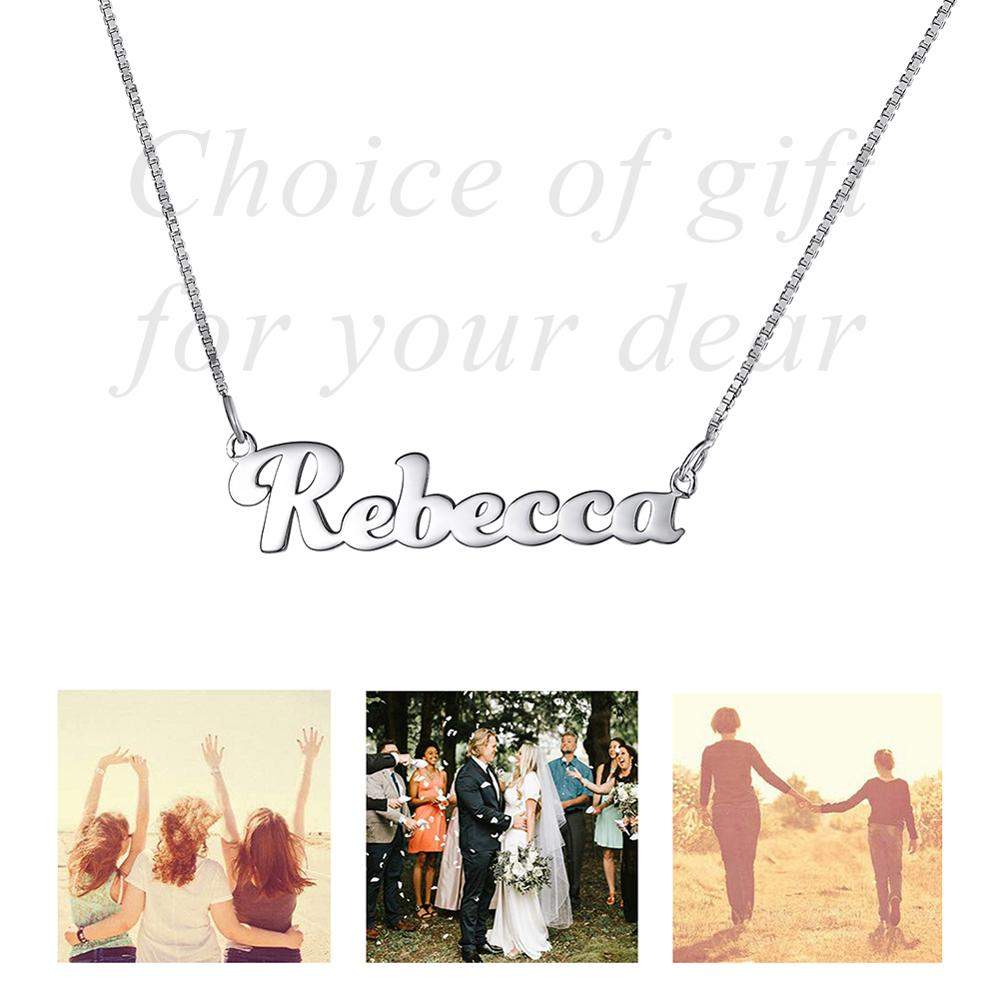 White Gold Sterling Silver Word Art or Photo Custom Necklace Personalized Gift in Chain Necklaces from Jewelry Accessories