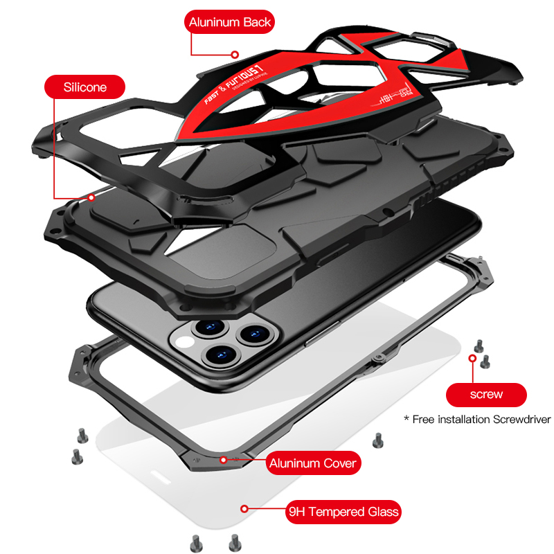 Image 5 - LUPHIE Luxury SportsCar Case For iPhone 11 Pro Max Shockproof Armor Aluminum Case For iPhone X XS Max XR Silicone Cover FundaFitted Cases   -