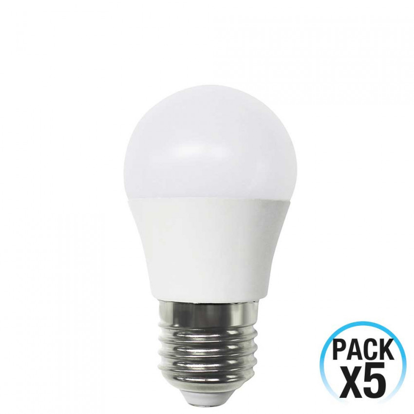 Pack 5 LED Bulbs Spherical E27 6W Equi.40W 470lm 3000K 15000H 1Primer Low Cost