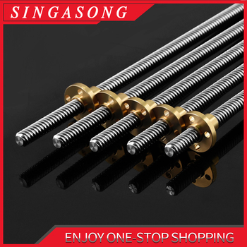 Lead Screw 100mm 150mm 250mm 300mm 330mm 350mm 400mm 500mm 3D Printers Parts 8mm Trapezoidal Screws Copper Nuts Leadscrew Part image