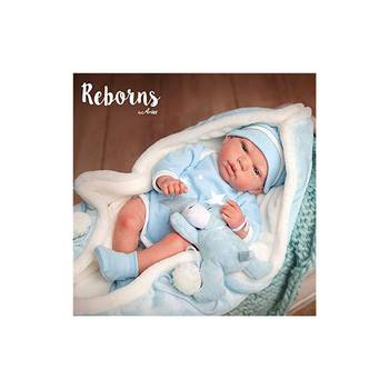 Baby Doll Reborn 98036 Carlos Arias, includes Teddy and blanket light blue, wears body color celeste, it measures 40cm