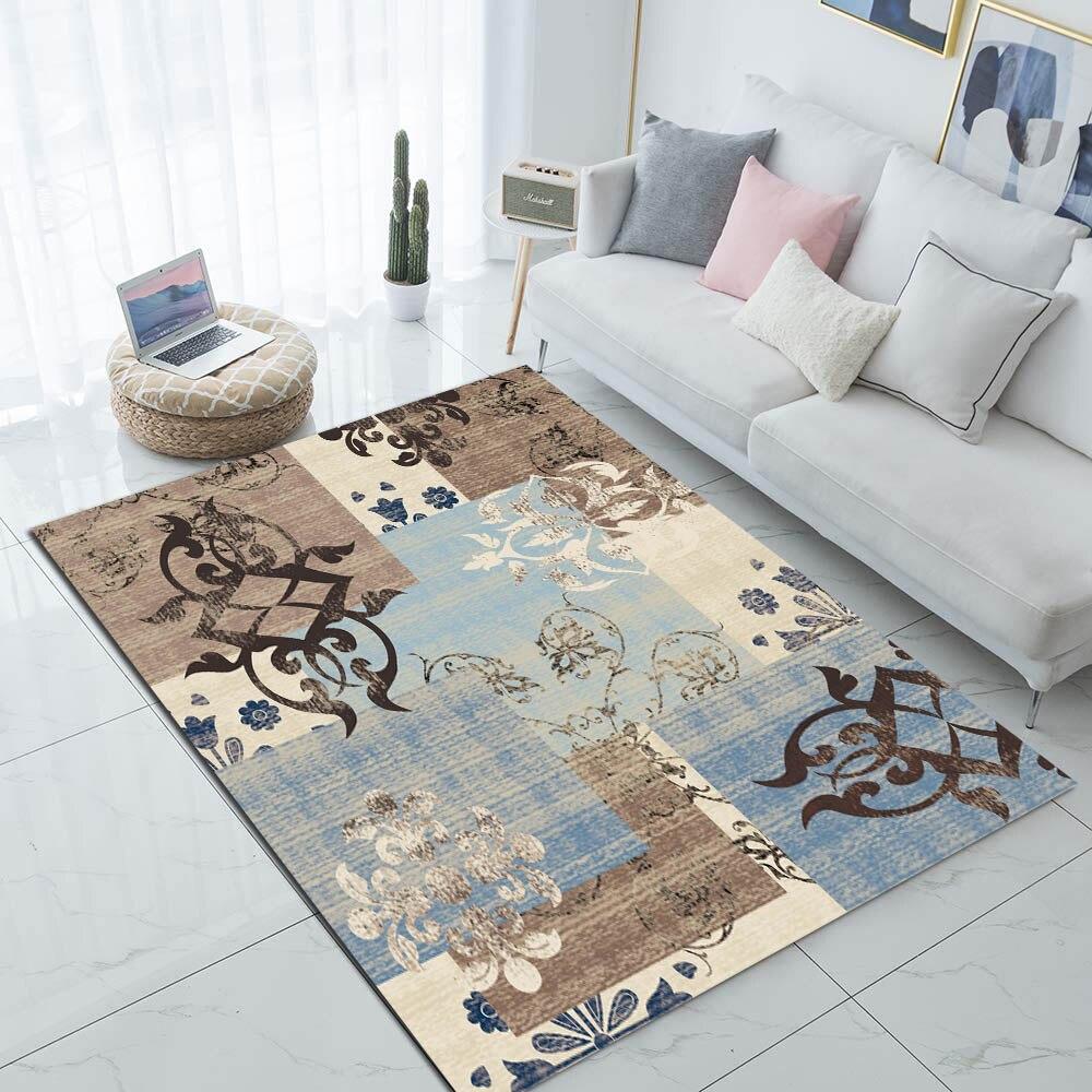 Autre bleu marron Beige Patchwork Vintage ethnique 3d impression antidérapant microfibre salon moderne tapis lavable zone tapis