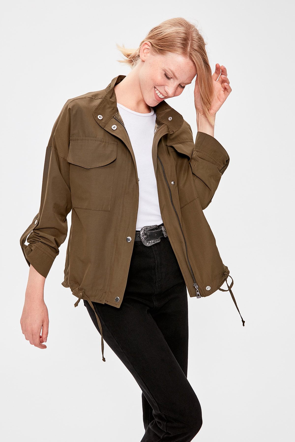 Trendyol Khaki Snap And Zipper Closures Trench TWOAW20TR0020
