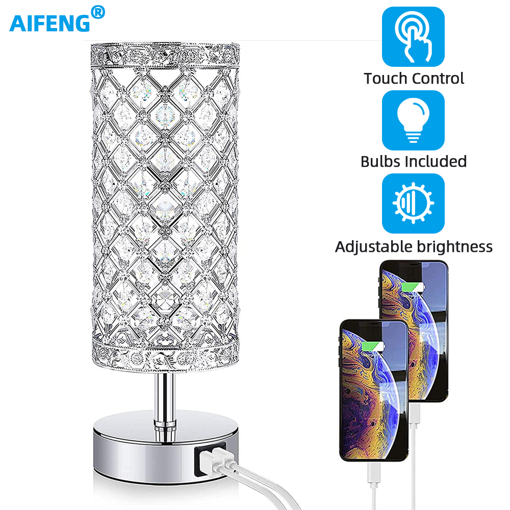 LED Silver Crystal Bedside Lamps with 2*USB ports Indoor Table Lamp for Bedroom Desk Lamp Gift Small Night Lamp E27 110v-220v