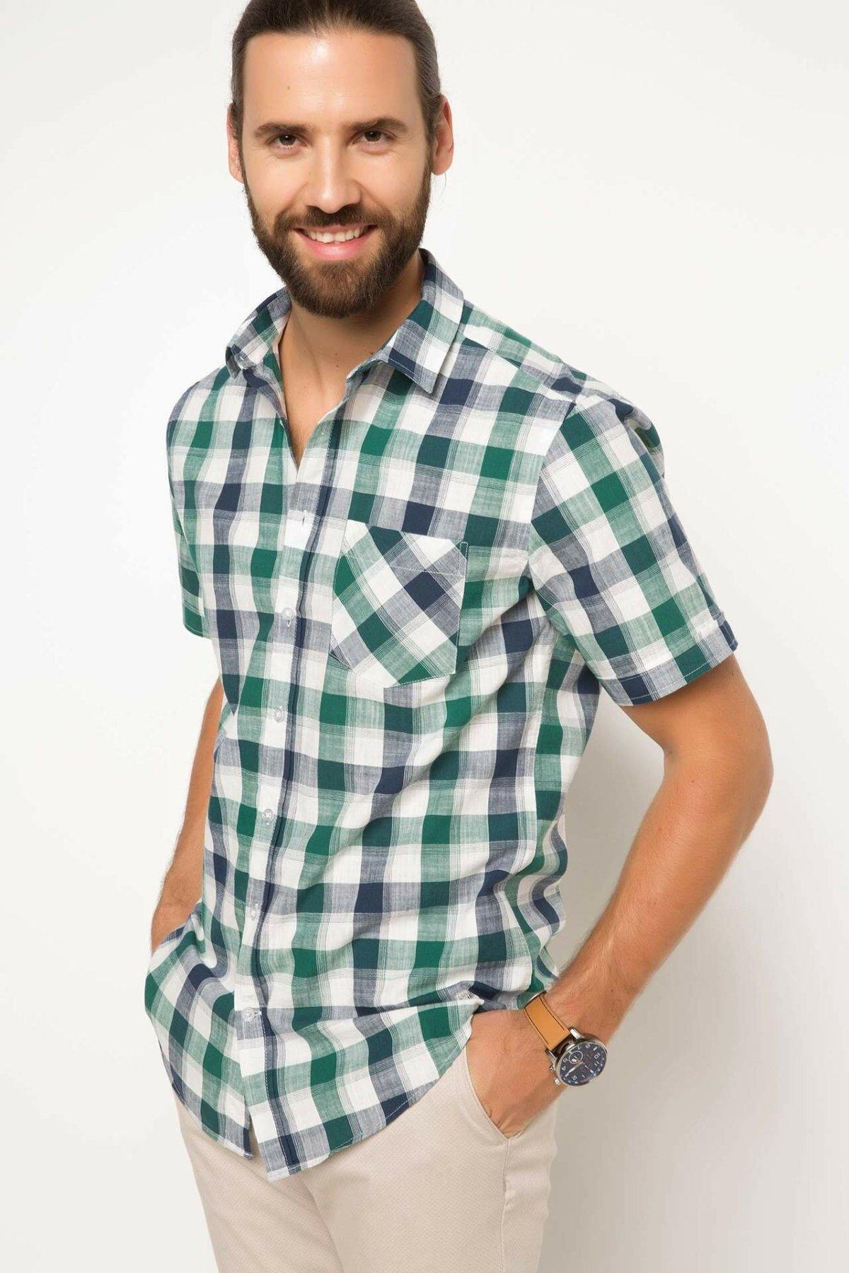 DeFacto Fashion Men Short Sleeve Shirt Men Lapel Casual Plaid High Quality Blouses Male Comfort Loose Shirts Summer -G9252AZ17HS