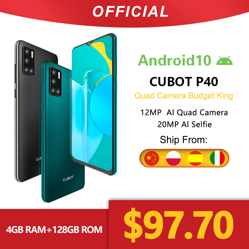 Cubot P40 Rear Quad Camera 20MP Selfie Smartphone NFC 4GB+128GB 6.2 Inch 4200mAh Android 10 Dual SIM Card mobile phone 4G LTE|Cellphones| - AliExpress