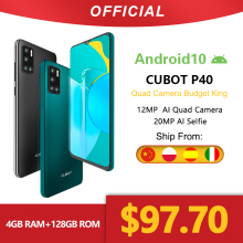 Cubot P40 Rear Quad-Camera 128GB 4GB GSM/WCDMA/LTE NFC Mcharge Face Recognition 12mp
