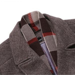 Image 5 - New Fashion Brand Mens Clothing Jacket Wool Coat Men Single Breasted Turn Down Collar Slim Fit Peacoat Long Winter Men Coat 4XL
