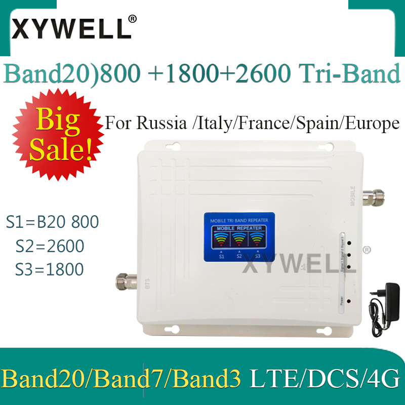 1PCS LTE B20 800 1800 2600Mhz Tri-Band Mobile Signal Booster 4G Cell Phone Amplifier 2G 4G Cellular Repeater LTE DCS 4G Booster