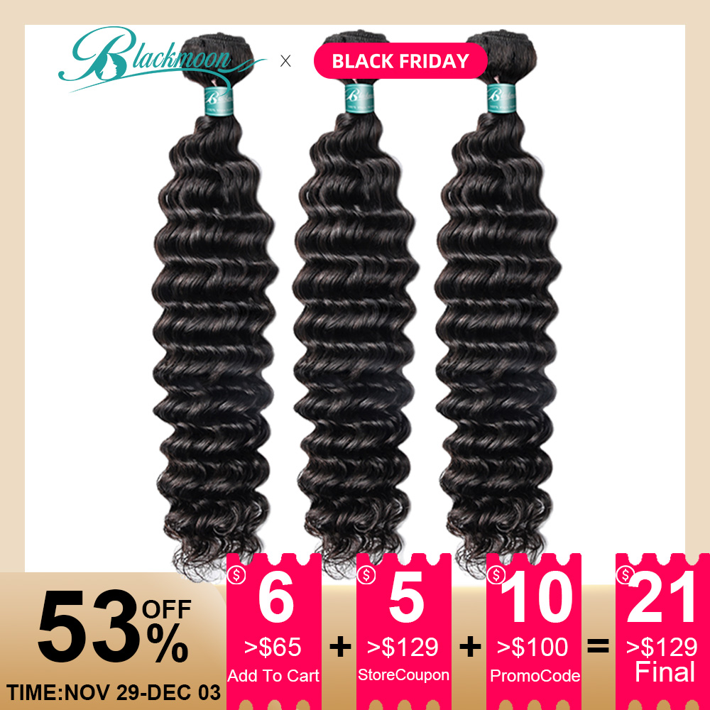 Brazilian Remy Hair Weave Bundles Deep Wave 3pcs Wet And Wavy Human Hair Weaving 8-26 Inch Double Drawn Natural L Blackmoon Hair