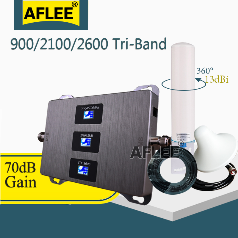 2020 Hot!! 900 2100 2600 Cellular Amplifier Cell Phone Tri-Band Repeater GSM 2G 3G 4G Mobile Signal Booster GSM DCS WCDMA Set