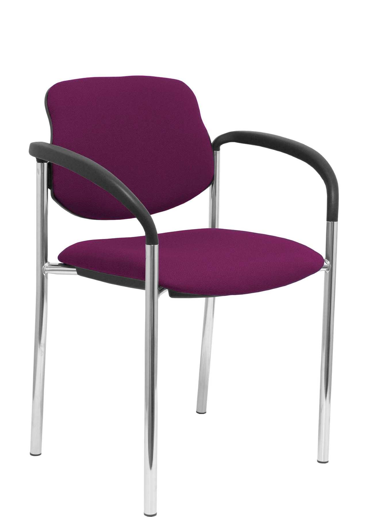 Confident Chair 4-leg And Estructrua Chrome Arms-Seat And Back Upholstered In Fabric BALI Purple P