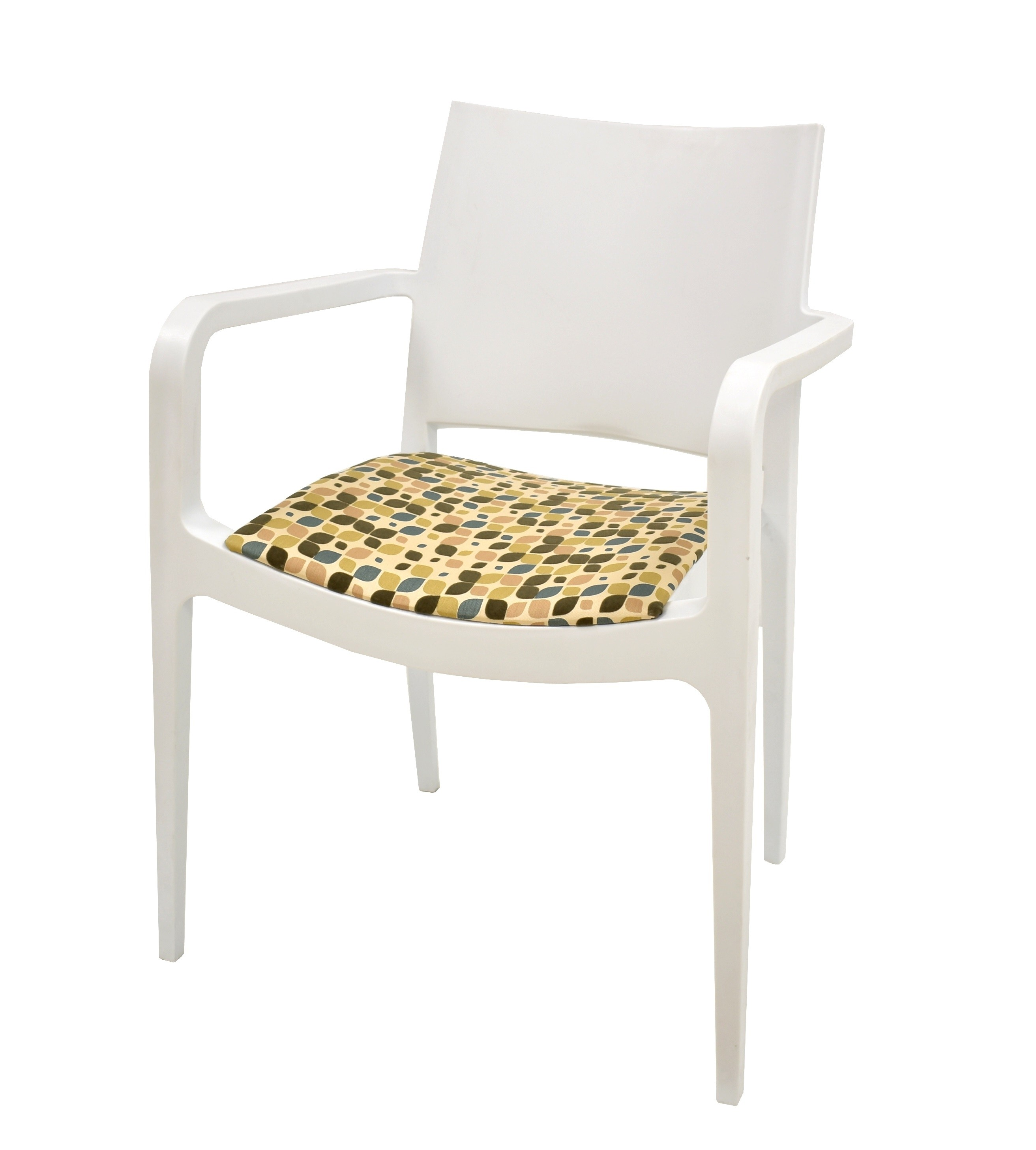Armchair EMIR White Polypropylene, Cojin Print