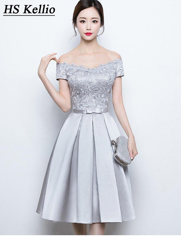 Épaule dénudée argent robe de demoiselle d'honneur courte grande remise Mini robes de fête