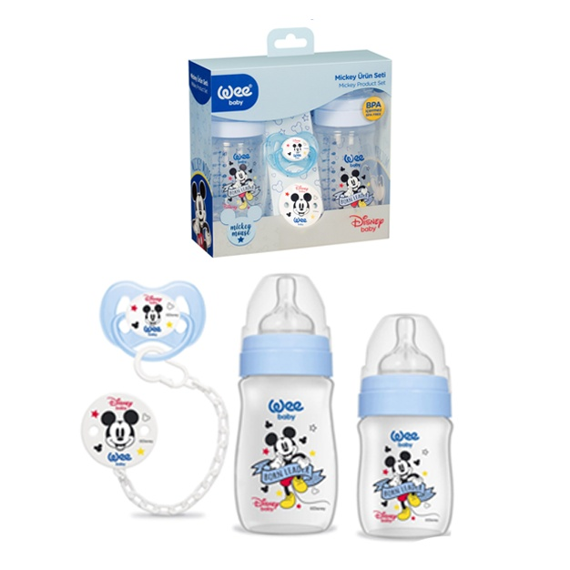 Wee Baby Mini Mouse Blue 3'lü Baby Bottle Set