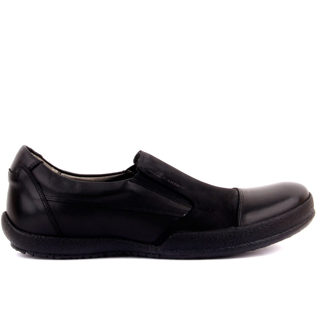 Sail-Lakers Black Nubuck Leather Men 'S Casual Shoes