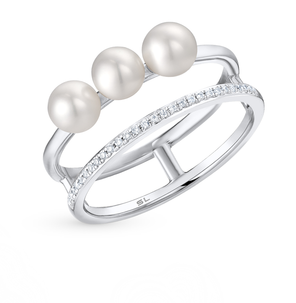 Gold Ring With Pearls And Diamonds SUNLIGHT Test 585