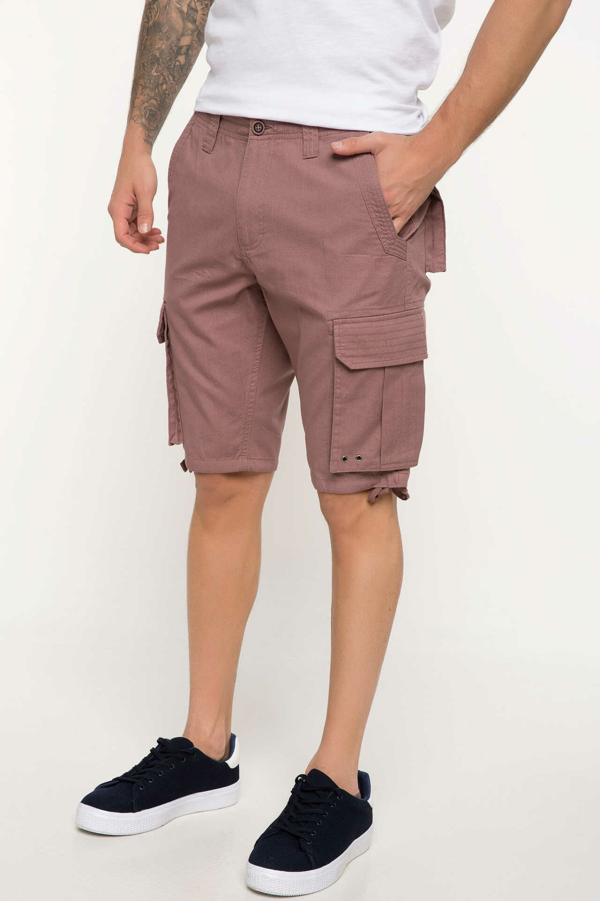 DeFacto Man Summer Pink Color Casual Shorts Men Pockets Decors Bermuda Short Bottoms Male Mid-waist Shorts-I6307AZ18SM
