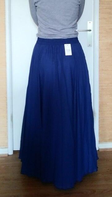 Long Skirts Women Stretch High Waist Solid Chiffon A Line Skirt Casual Pleated Maxi Skirt Faldas Saias Streetwear photo review