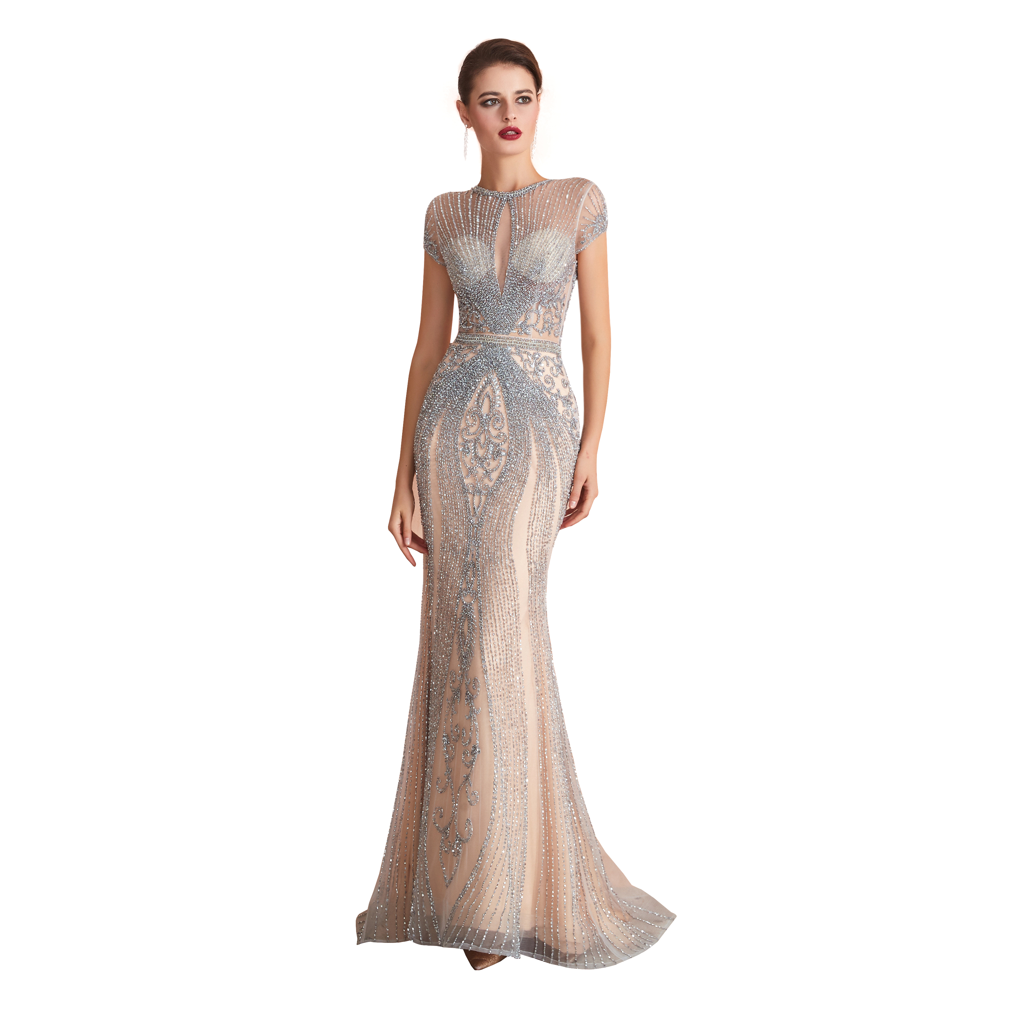 NEW 2020 St.Des Mermaid V-neck Russian Champagne Grey Blue Sequins Sleeveless Designer Floor Length Evening Dress Party Dress