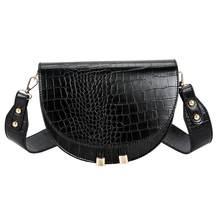 Sac de luxe en bandoulière, motif crocodile en cuir PU, forme demi-cercle pour femme, sacoche, sac à main
