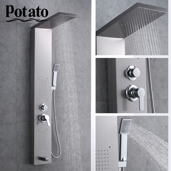 Potato Shower Faucet Waterfall Rain Bathroom Panel In Wall Shower System With Spa Massage Sprayer Bidet Head Hand Shower P3545