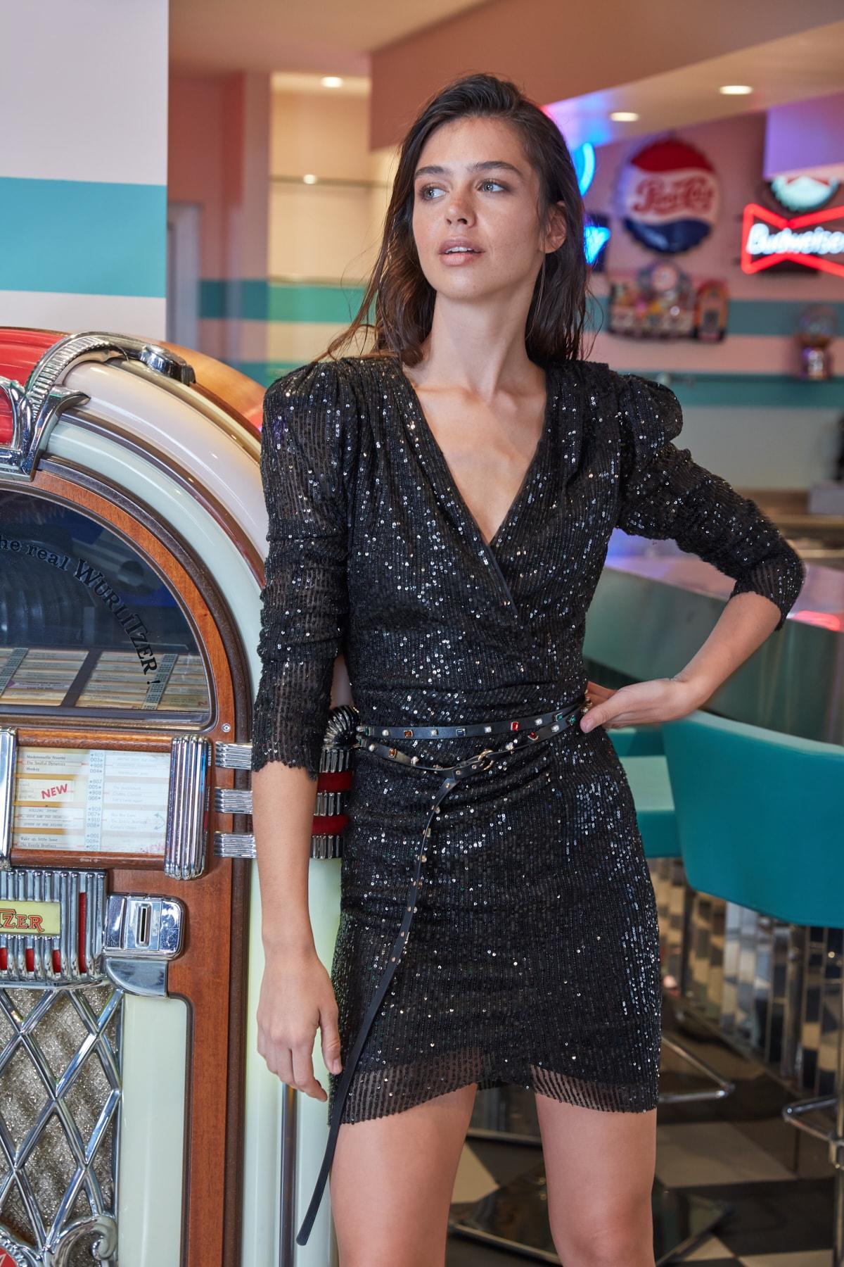 Trendyol Drapeli Sequin Dress TPRAW20EL0505