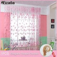 Hozada 1pc cortinas de janela tulipa flor impresso cortinas ilhós decoração casa janela tule curt 100x200cm
