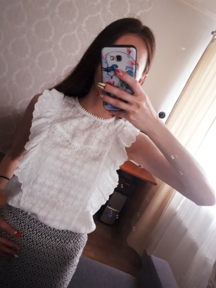 Flounce Shoulder O Neck Embroidery Lace Blouse White Ruffle Sleeveless Blouses Women Summer Casual Tops Mx18B4734 photo review