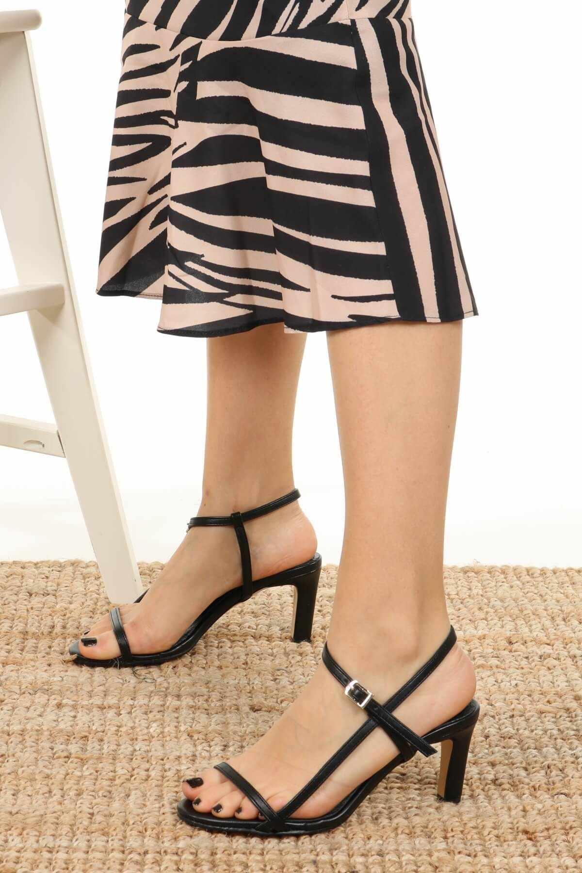 """Bao Da Chính Hãng Patricia Đen Ngắn Gọn Cao Cấp Da Thật Da Đế Bằng Dây Cột Nữ Giày Nữ Zapato De Mujer """"Tacon Mỏng Gót mũi Nhọn"""