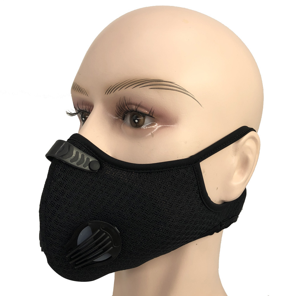 Replaceable Motorcycle Mask Riding Dust Fog Breathing Anti Pollution Activated PM2.5 With Activated Carbon Filter Face Mask
