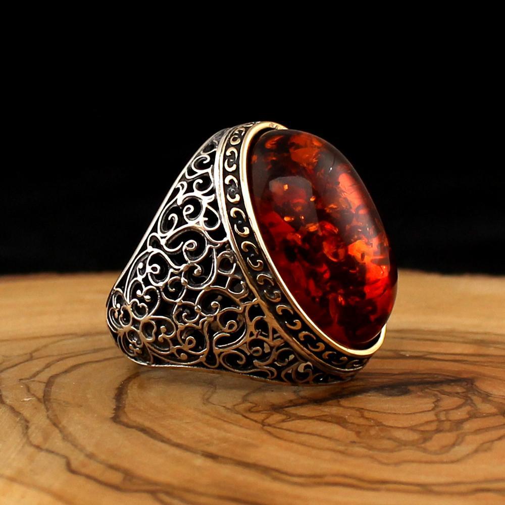 925 Sterling Silber Ring für Männer Bernstein Staub Stein Schmuck mode vintage Geschenk Onyx Achat Herren Ringe Alle Größe Gemacht in Der Türkei|Ringe|   - AliExpress