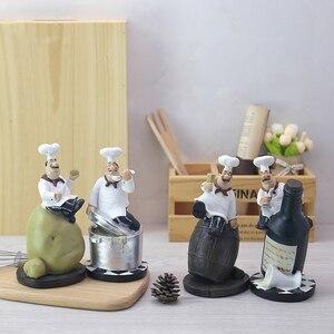 Image 4 - Strongwell Retro Chef ozdoby modelowe rzemiosło żywiczne figurki szefa kuchni biały Top Hat Cook Home kuchnia restauracja/Bar Coffee Decor
