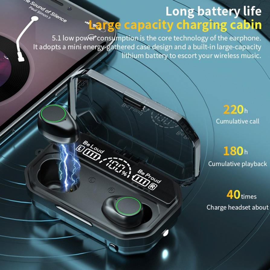3500mAh LED Bluetooth V5 1 Wireless Earphones Earbuds TWS Touch Control Sport Headset Noise Cancel Earphone Headphone PK M11 M12