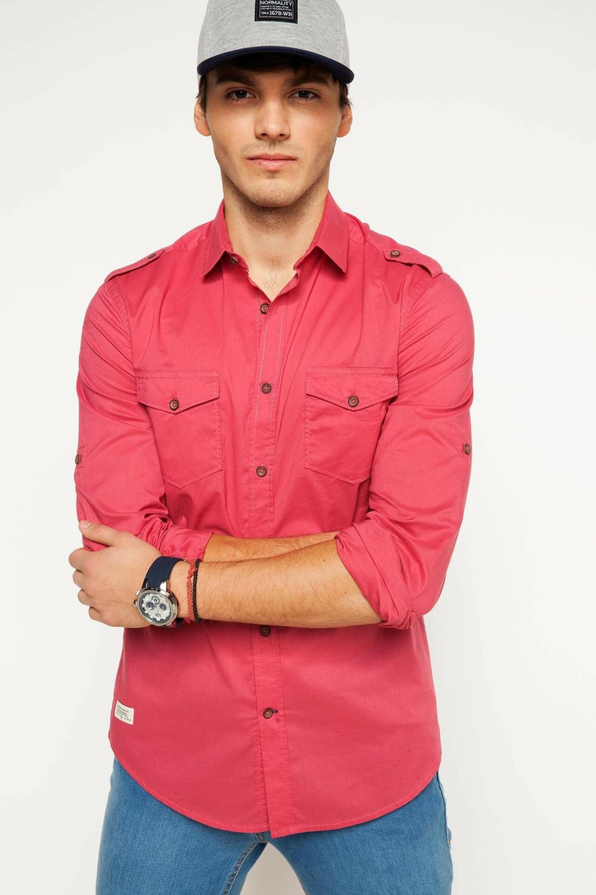 DeFacto Man Summer Breathable Smart Casual Shirts Men Solid Color Long Sleeve Top Shirt Men Cotton Top Shirts-G5645AZ17SM