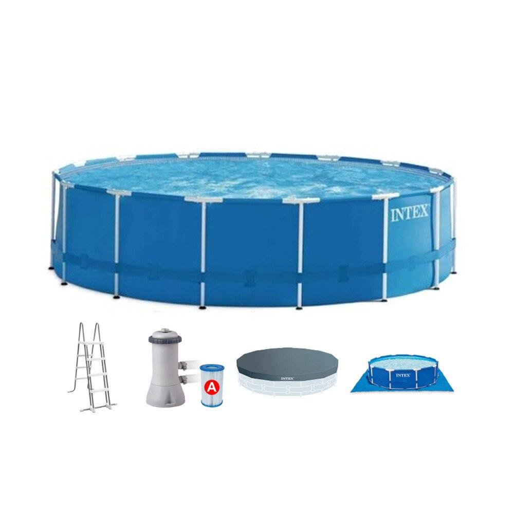 Intex Swimming Pool (filter Pump, Ladder, Substrate, Tent), 4,57 M X 1,22 M
