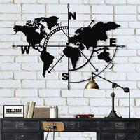 Metal World Map Compass, Metal Wall Decor, Metal Sign, Metal World Map Wall Art, Metal Wall Art