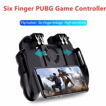 PUBG Controller Gamepad Game Shooter Trigger Fire Button Six Finger Cooling Fan Gamepad Joystick For IOS Android Mobile Phone