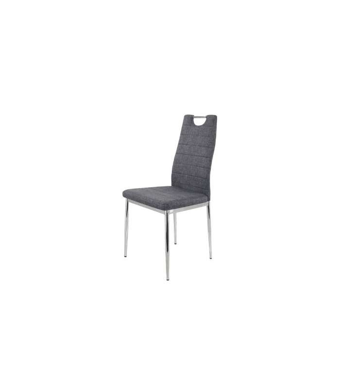 Pack 6 Chairs Upholstered In Fabric Gray Model Orense.