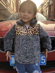 Image 5 - RTS TTS Monogram leopard cheetah buffalo plaid patch KIDS SHERPA pullovers boys&girls jackets Fleece Youth Pullover coats